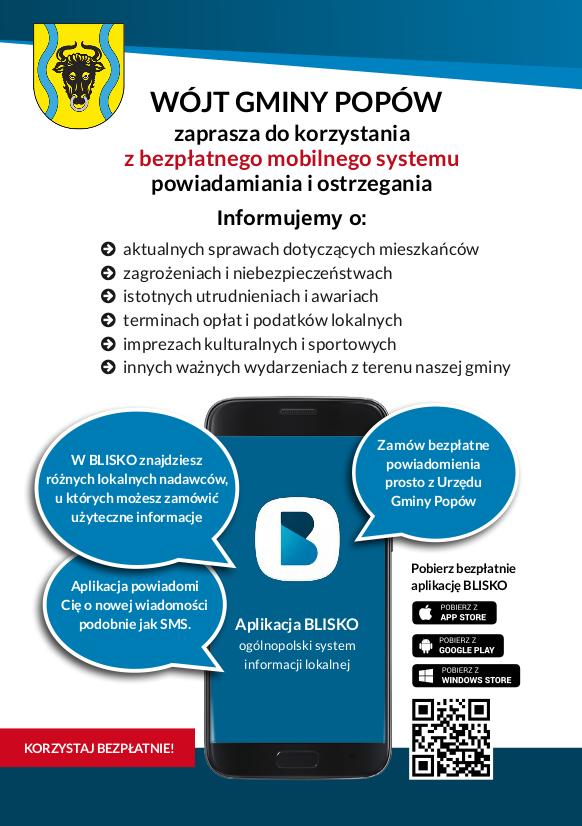 Obrazek przedstawiający plakat promujący aplikację do powiadamiania mieszkańców